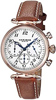 Akribos XXIV Women's Classic Chronograph Watch - Silver Sunburst Dial - Rose Gold Stainless Steel Case - Brown Embossed Alligator Pattern with Cream Contrast Stitching Leather Strap - AK630
