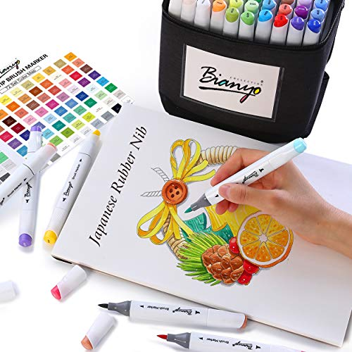 Bianyo Professional Series Alcohol-Based Dual Tip Brush Markers Set (Set of 72, Travel Canvas Bag)