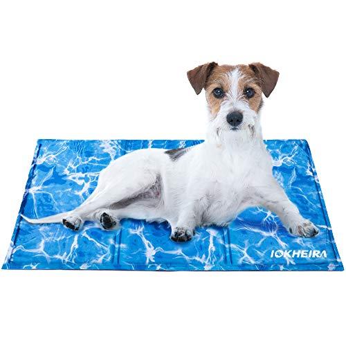 Iokheira Kühlmatte für Hunde, strapazierfähige Kühlmatte für Haustiere, Ungiftiges Gel, Selbstkühlende Kissen, ideal für Hunde Katzen im heißen Sommer (L: 90x50 cm(35.4x19.7 in), Blau)