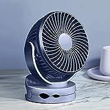 Ventilador de clip para escritorio con gancho de acero inoxidable, ajuste de 4 velocidades, atenuación de luz de 2 noches, 4000 mah incorporados, ventilador de mesa de escritorio portátil silencioso,