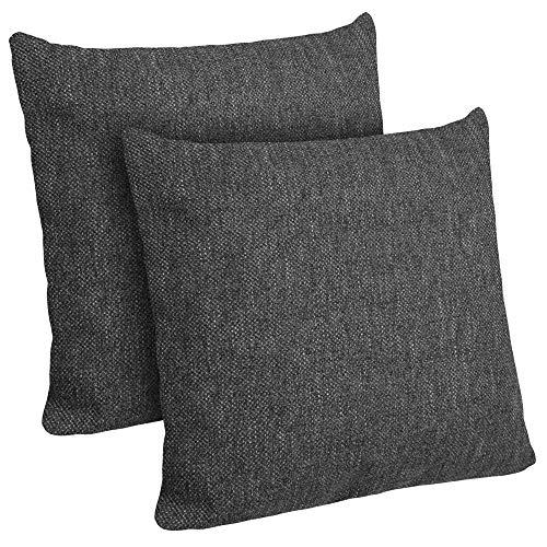 Selfitex 2er Set Kissenbezug, Dekokissen, Kissenhüllen ohne Füllung, Komfort-Polsterstoff mit Reißverschluss, für Sofa Couch Wohnzimmer, Kopfkissenbezug im Doppelpack (2X 50 x 50 cm, Anthrazit)