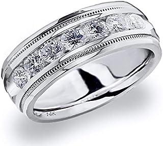 Men's 1ct Grooved Milgrain Diamond Ring in 14K Gold