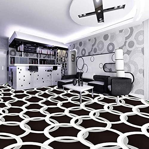 HGFHGD Papel pintado mural autoadhesivo impermeable moderno 3D círculo blanco y negro patrón geométrico pintura de suelo 3D pegatina de PVC papel tapiz de baldosas de suelo