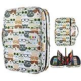 YOUSHARES Colored Pencil Case 220 Slots Pen Case Organizer With Handy Wrap & Zipper, Multilayer Holder for Prismacolor Colored Pencils & Gel Pen (Kitten)