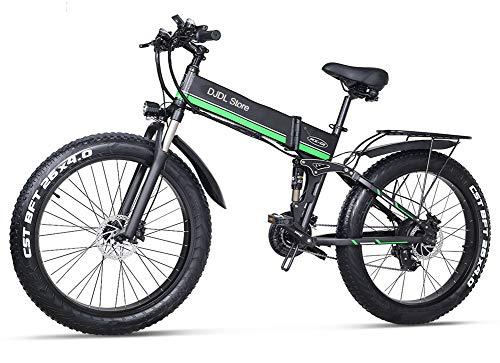 Acptxvh Neve Bici elettrica Pieghevole 48V Mountain Bike con 26inch 4.0 Fat Tire MTB 21 velocità E-Bike Pedal Assist Freno a Disco Idraulico,Verde