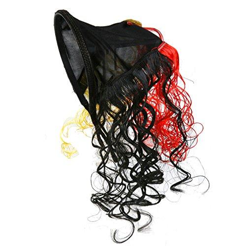 Haarreifen am Dreieckstuch mit Locken Deutschlandfarben Fussball-Fanartikel für Kopf und Körper Deutschland schwarz-rot-gold (Haarreifen am Dreieckstuch mit Locken)