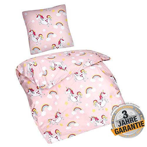 Aminata Kids süßes Bettwäsche-Set Einhorn-Motiv Mädchen 135 x 200 cm + 80 x 80 cm rosa, aus Baumwolle mit Reißverschluss, unsere Kinder-Bettwäsche mit Unicorn-Motiv ist weich, kuschelig, Regenbogen