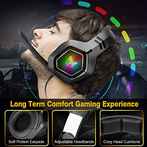 DIZA100 Gaming Headset für PS4 PC Xbox One, 3.5mm Surround Sound Kabelgebundenes ONIKUMA Gaming Kopfhörer mit RGB-Licht und verstellbarem Mikrofon für Nintendo Switch Laptop Mac Handy Tablet