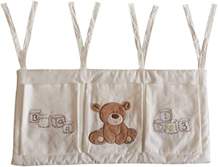 KANGJIABAOBAO Crib Hanging Bag Baby Nursery Organizer For Clothing Diapers Toys Hanging Storage Bag Pockets Bedside Caddy White Diaper Organizer   Color Picture Color  Size 32X68CM