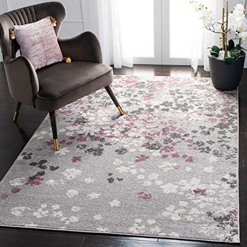 "Safavieh Adirondack Collection ADR115M Light Grey and Purple Contemporary Floral Area Rug (5'1"" x 7'6"")"