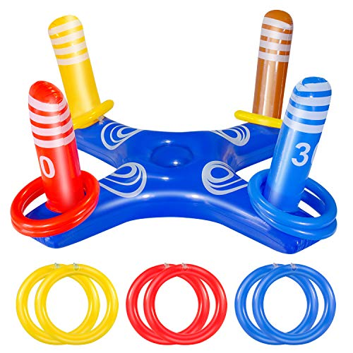 JOZON Inflatable Ring Toss Pool Game Toys with 6 Pcs Rings Floating Swimming Pool Ring Water Floating Throwing Ring Play for Multiplayer Summer Beach Pool Family Indoor Outdoor Game