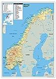 Carte physique de Norvège en papier laminé, GA A1 Size 59.4 x 84.1 cm claire