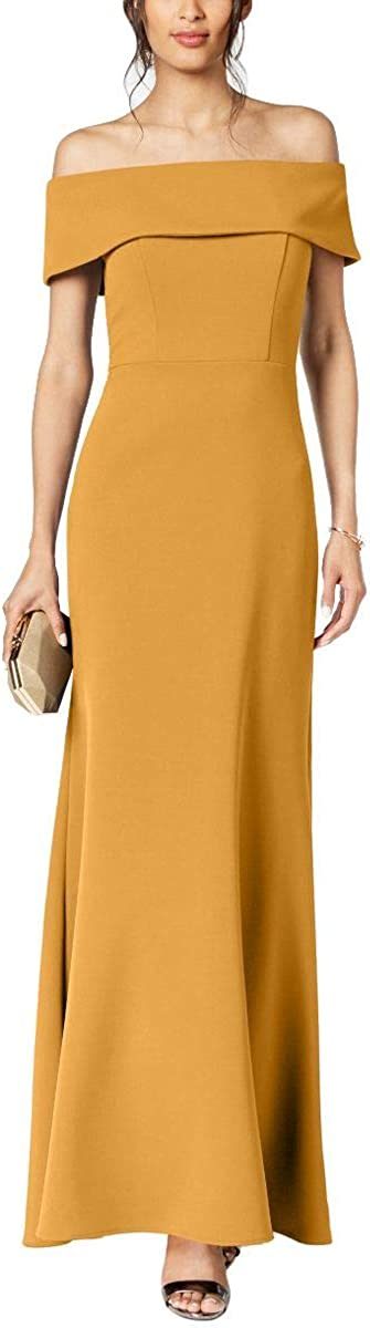 BETSY & ADAM Women's Ruffled-back Off-the-shoulder Gown Dress