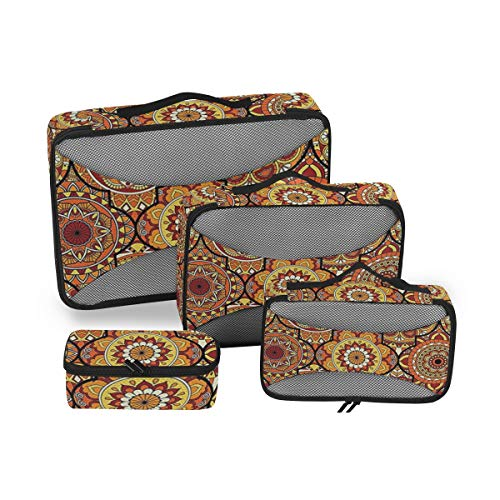 Lot de 4 Sacs de Toilette à Rayures géométriques pour Femme Grand Sac à cosmétiques avec poignée Organiseur de Toilette pour Homme et Femme