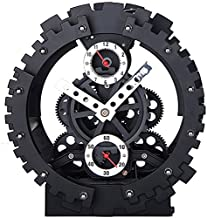 KikerTech KHOME Modern Mechanical, Page Turing Desk Clock, Moving Gear Wall Clock, 3D Movements, Novelty Desk Clock, Offic...
