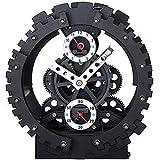 KikerTech KHOME Modern Mechanical, Page Turing Desk Clock, Moving Gear Wall Clock, 3D Movements, Novelty Desk Clock, Office Shelf Clock Home Decorative Alarm (Black - Gear Change Alarm Clock)