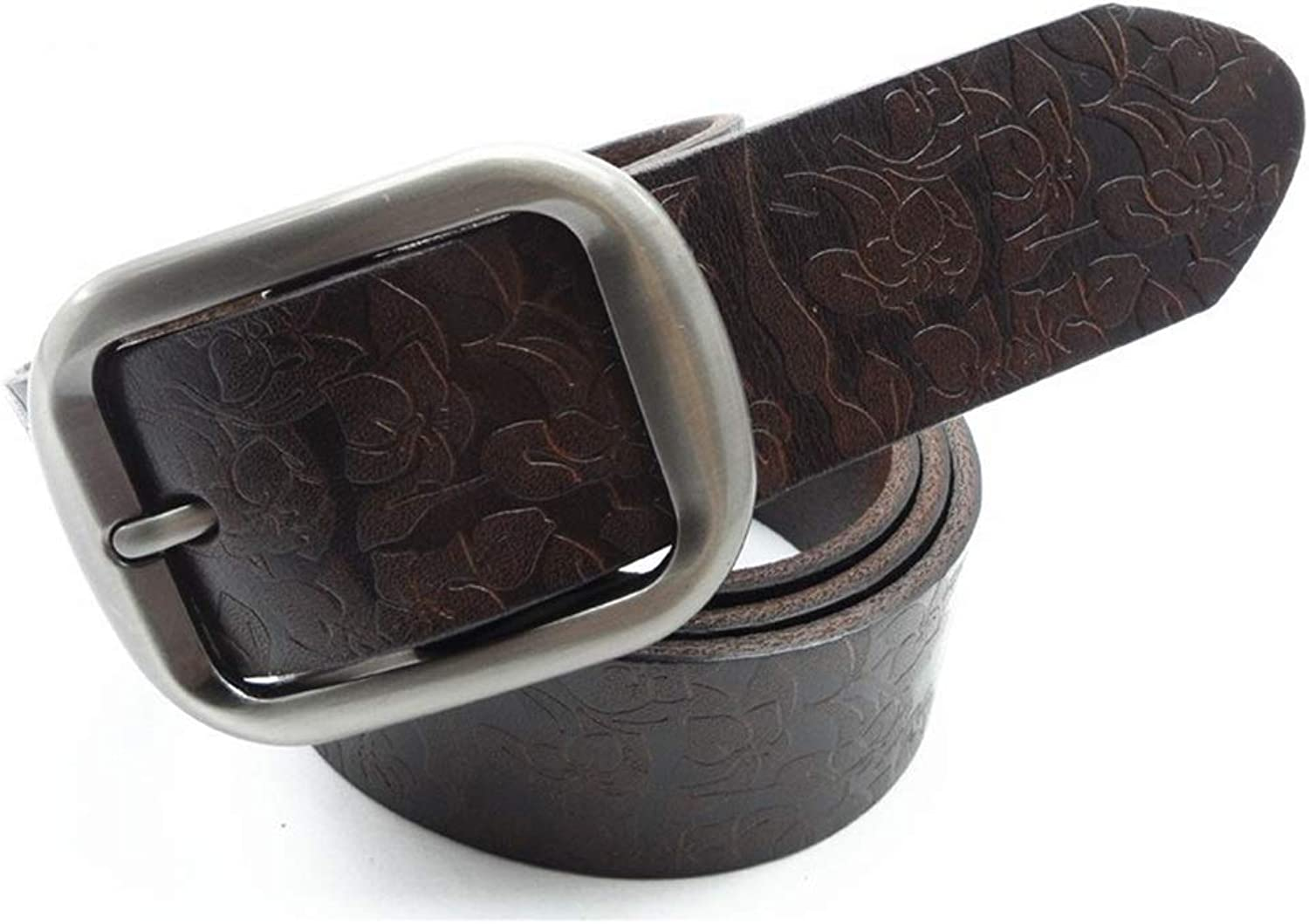 Canvas Belt Women's Dress Belts Genuine Leather Alloy Prong Buckle Gift Box (color   Coffee, Size   120cm)