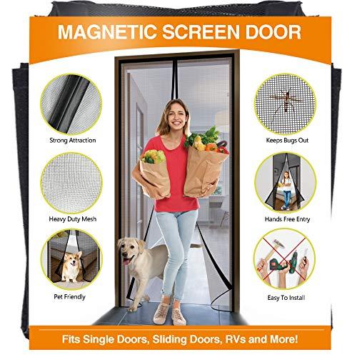 YUFER Magnetic Screen Door 32×80 Inch Reinforced Fiberglass Mesh Curtain Patio Door Screen Full Frame with Hook&Loop - Fits Door Size up to 32''x80'' Max