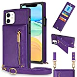 JAKPAK Compatible with iPhone 11 Case Wallet Card Holder Case with Lanyard Strap PU Leather Zipper Cover Protective Shockproof Square Case Compatible with iPhone 11 6.1 inch Purple