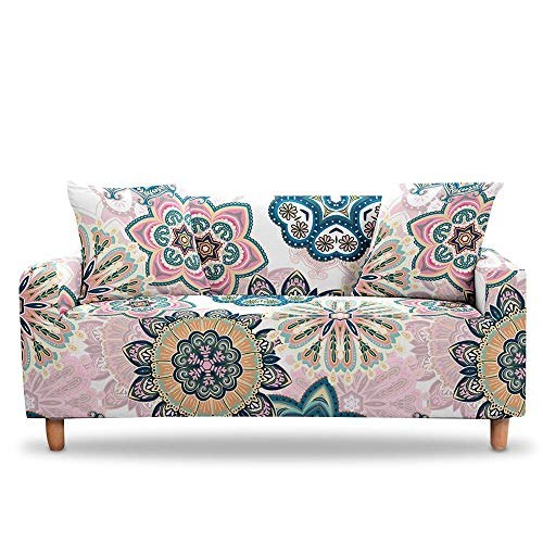 Funda de sofá bohemia elástica para sofá de 2 o 3 plazas, funda de sofá para sala de estar, decoración del hogar, funda de sofá (color: color 1, especificación: 1 plaza (90 x 140 cm)