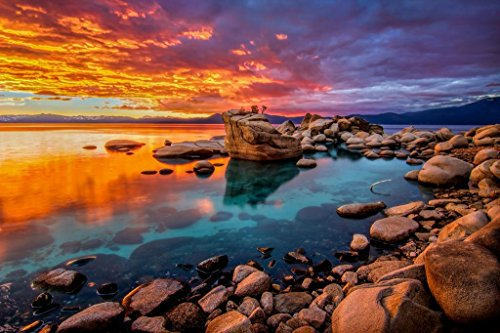 Stunning Lake Tahoe Rocky Shore Colorful Sunset Photo Cool Huge Large Giant Poster Art 54x36