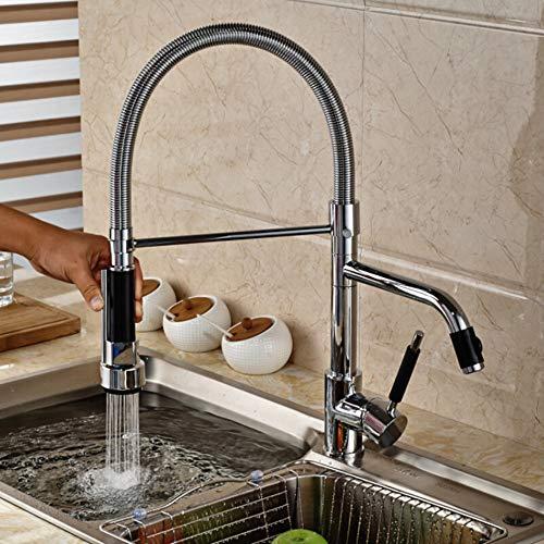 LLLYZZ Chrome Dual wateruitloop Flexibele keukenkraan plafond monteren een greep lente pull down rotatie keuken mixers taps