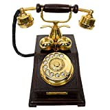MALIKS® Antique Style Wooden Telephone, Vintage Type Retro Look landline as Home Phone
