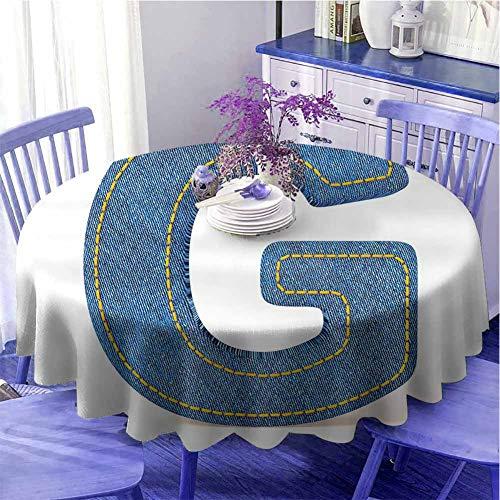Lettera G Cucina tovaglia rotonda Modern Denim Font Typeset Personaggio Jeans Panno con Punti Stampa Maiuscola Caldo Sensazione Diametro 60' Blu Giallo