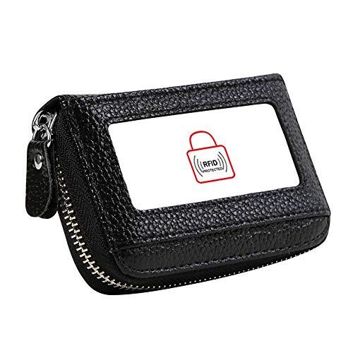 Women's RFID Blocking 12 Slots Credit Card Holder Leather Accordion Wallet,black