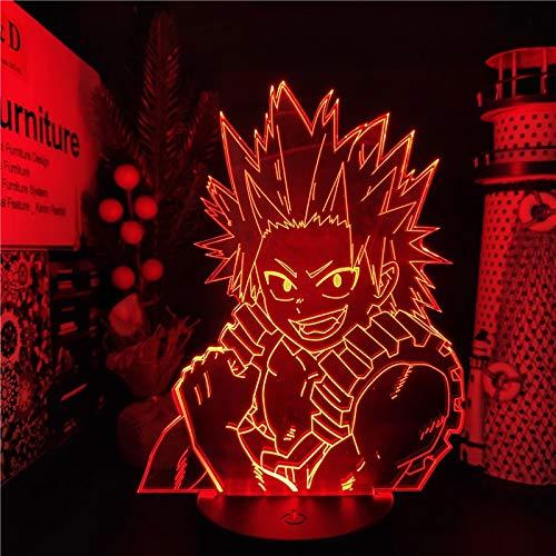 Anime Cartoon Manga My Hero Academia Boku No Hero Academia Kirishima Eijiro 3D LED Night Light Boy Fans Dormitorio USB Lámpara de mesa Regalo para niños Decoración del hogar