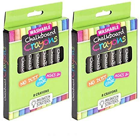 Imagination Starters Set of 2 8-Pack Washable Chalkboard Crayons