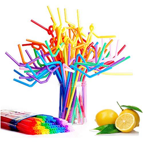 100 Stück Einweg Plastik Bunte Trinkhalme -plastiktrinkhalme Flexible Trinkhalme für Party/Home
