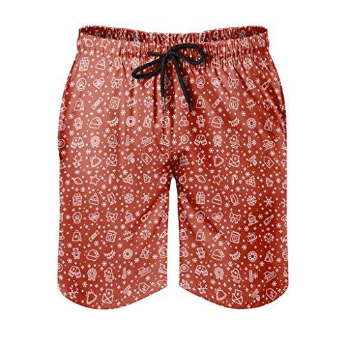 Dessionop Pantalones cortos de playa para hombre, festivos, Navidad, sombrero, estrellas, copos de nieve, con forro de bolsillo, color blanco