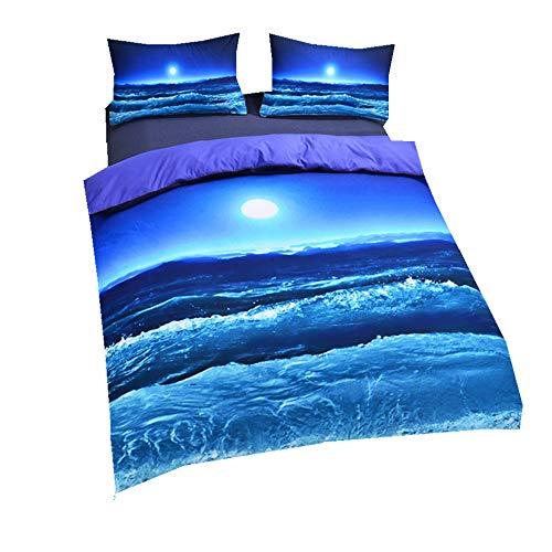 Sticker superb élégante Bleue Mer Parures de Lit, Mer Vague Bleu Dragon Housse de Couette avec Taie d'oreiller (Bleu Vague, 220x240cm)