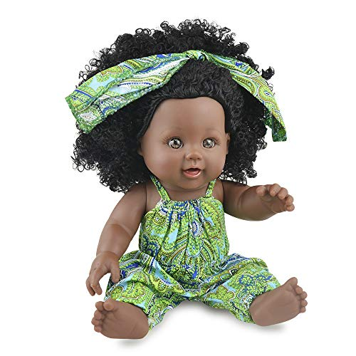 Nice2you Bambola Nera Bambina afroamericana da Gioco da 12 Pollici per Bambini Ideale per Regalo di Compleanno