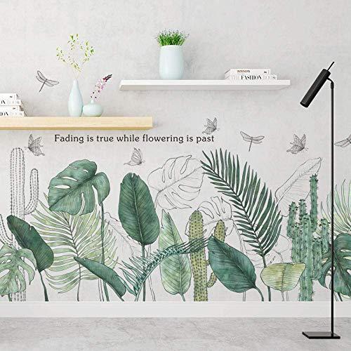 Plantas Tropicales Hojas Verdes Pegatinas De Pared Sala De Estar Dormitorio Sofá Tv Fondo Extraíble Vinilo Pared Calcomanías Ins Carteles Decoración