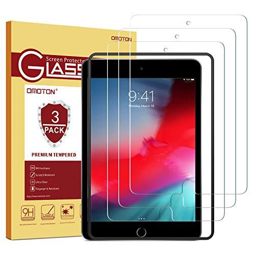 OMOTON [3 Stück] Panzerglas Schutzfolie für das Neue iPad Mini 5 (2019)/ iPad Mini 4, mit Positionierhilfe, Anti-Kratzer, Anti-Öl, 9H Härte, [7.9 Zoll] Displayschutz für iPad Mini 5/4