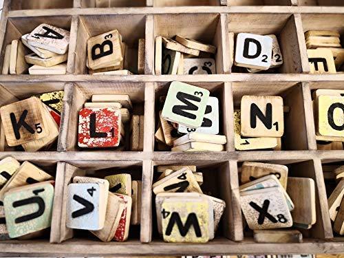 percasa Scrabblebuchstaben von A - Z aus Holz, 6 x 6 cm, bunt gemischt (M)