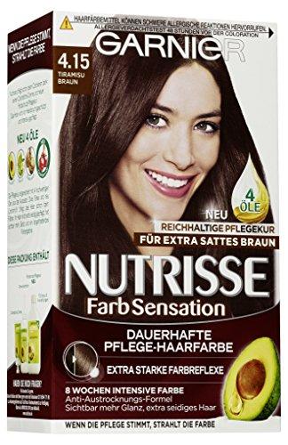 Garnier Nutrisse Creme Coloration Extra Tiramisu Braun 4.15 / Färbung für Haare für permanente Haarfarbe (mit 3 nährenden Ölen), 3 x 1 Stück