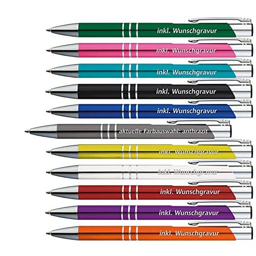 50 x Metallkugelschreiber mit 3 Zierringen inkl. Wunsch-Gravur Farbe | ANTHRAZIT | wählen Sie aus 20 Schriftarten und 11 verschiedenen Farben Ihren Wunsch-Kugelschreiber