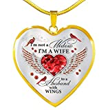 A Big Piece Of My Heart Lives In Heaven & Watches Over This Home Quotes Cardinal Birds Heart Pendant Necklace, Heart Luxury Necklace (Gold Plated)