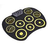 fasient Batería Electrónica Portátil, Kit de Almohadilla de Batería Electrónica Plegable, USB Compacto con Conector para Auriculares de 3.5 mm, Batería Musical para Niños para Baterista Principiante