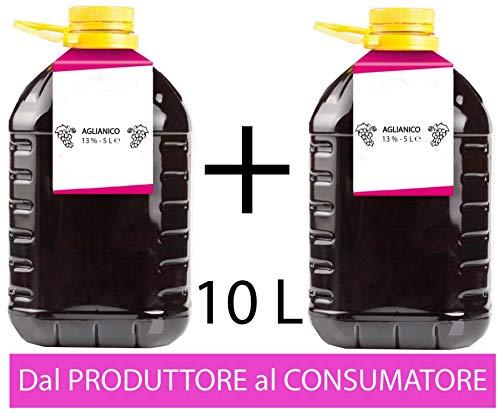 Confezione 2 PET da 5 L di VINO AGLIANICO Campania IGP IGT rosso CAMPANIA 13% Sfuso da Azienda Agricola