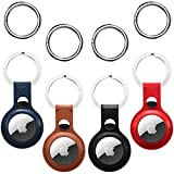 4 Pack Leather AirTag Case for Apple AirTag Tracker, AirTags Case with Anti-Lost Keychain,Protective Air Tag Keyring Holder Cases Cover,Finder Airtag Wallet for Dog Keyring,Apple Airtag Accessories.