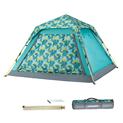 KingCamp Outdoor Beach Tent 3-4 Person UPF 50+ Quick-Up Sun Shelter with Canopy and Mesh Side Walls (Palm Green)
