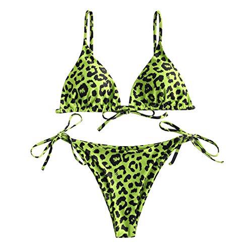 Mujer Bikini Conjunto,Copa Triangular de conImpresión de Lunares + Chaleco Superior de Tres Piezas Cintura Baja Shorts