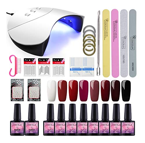 Saint-Acior Esmalte Semipermanente 8PCS Gel Uñas 8ML Lámpara Unas 36W UV/LED Secador de Uñas Top Coat Base Coat Manicura Kit