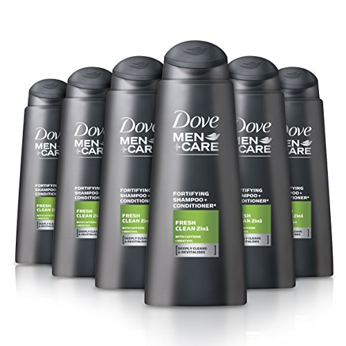 Dove Men+Care - Champú y acondicionador 2 en 1 Fresh Clean, 400 ml (Pack de 6 unidades).