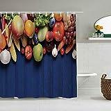 Wdoci Cortina de Ducha,Cosecha de Frutas y Verduras orgánicas Frescas en una Mesa de Madera Azul Opciones Veganas Naturales Multicolo, para Cortinas de baño Juego de baño con Ganchos (180x180cm)
