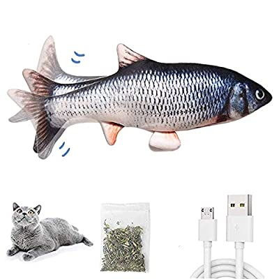 HIKENRI Electric Moving Fish Cat Toy, Realistic Plush Simulation Electric Wagging Fish Cat Toy Catnip Kicker Toys, Funny Interactive Pets Pillow Chew Bite Kick Supplies for Cat